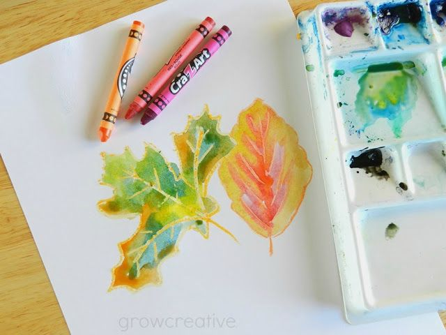 Fall Art Tutorial Crayon And Watercolor Leaves Art For Kids