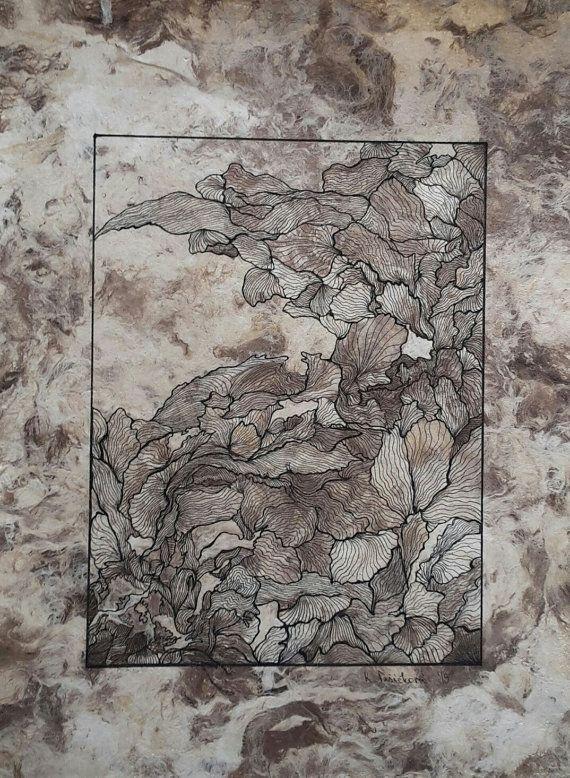 nature i original ink drawing on handmade paper leaves black