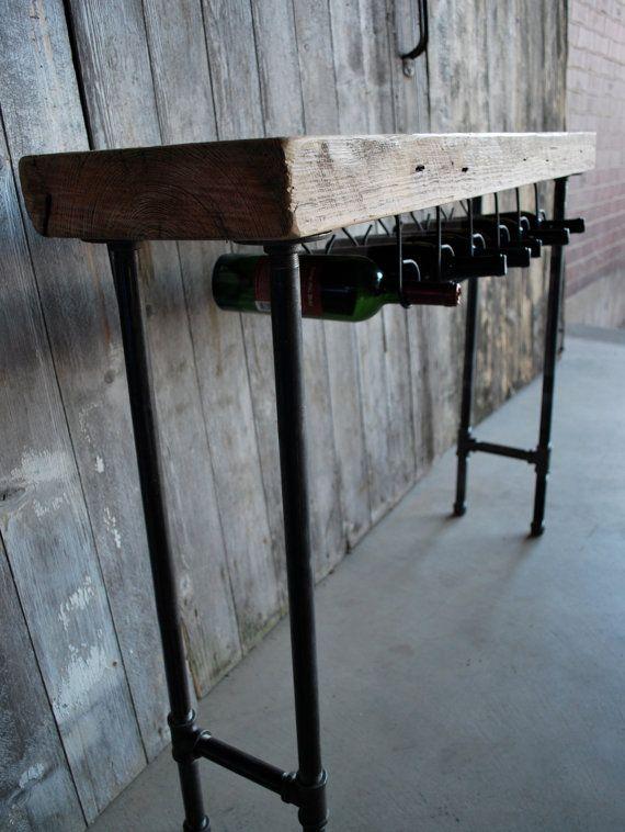 Custom 4 ft Industrial Reclaimed Wine Bar and by UrbanWoodGoods