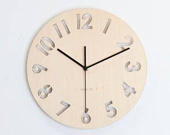 """12"""" reloj de pared madera - Numeral moderno"""