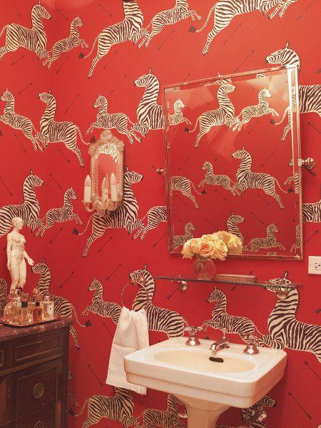 Pieter Estersohn 1stdibs Photo Archive Search Red Wallpaper Bathroom Via 1stdibs Zebra Wallpaper Bathroom Red Wallpaper Red and zebra bathroom decor