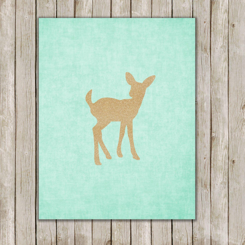 Fawn Deer Print // Aqua Gold Glitter Printable by twomoonsandafry, $5.00