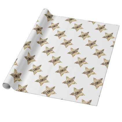 elegant gold look christmas stars pattern wrapping paper