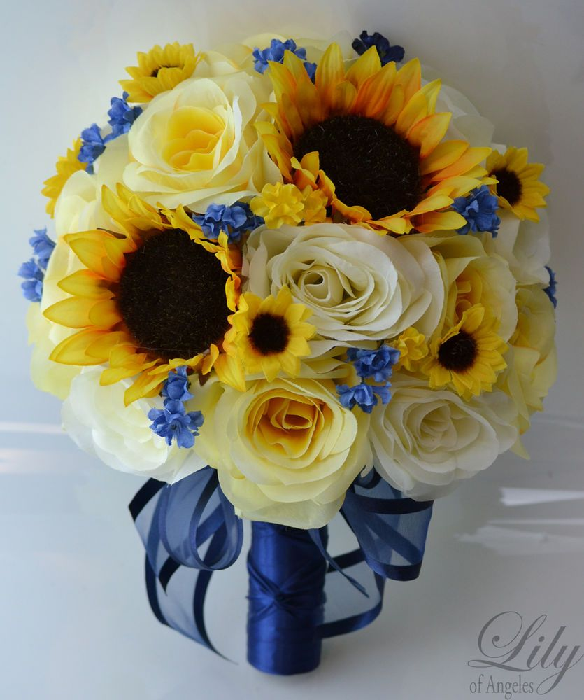 17 pieces wedding bridal bouquet round sunflower package 17 pieces wedding bridal bouquet round sunflower package decoration yellow navy dhlflorist Choice Image