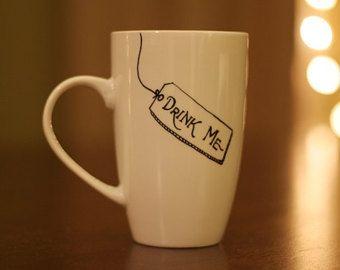 Drink Me Alice in Wonderland Inspired hand painted mug