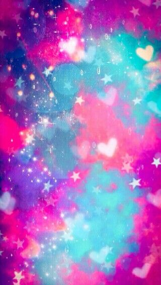 Pink Blue Purple Galaxy Hearts Stars Wallpaper Cute Wallpaper For Phone Pretty Wallpapers Colorful Wallpaper