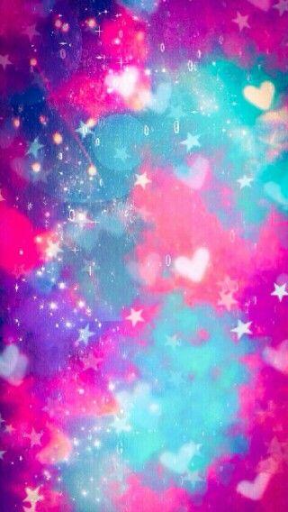 Pink Blue Purple Galaxy Hearts Stars Wallpaper Colorful