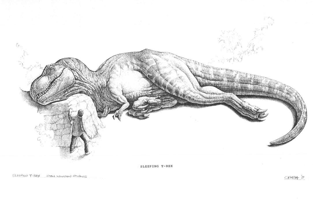 Concept art for the cut sleeping Rex scene. Dinosaur
