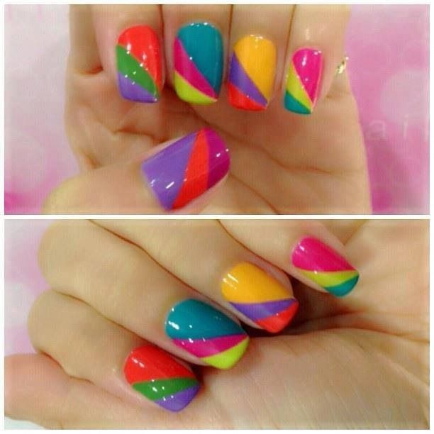 Rainbow nails nails pinterest fun nails nail nail and hair bright summer colors looks like candy i would so rock these i bright colorful nails prinsesfo Image collections