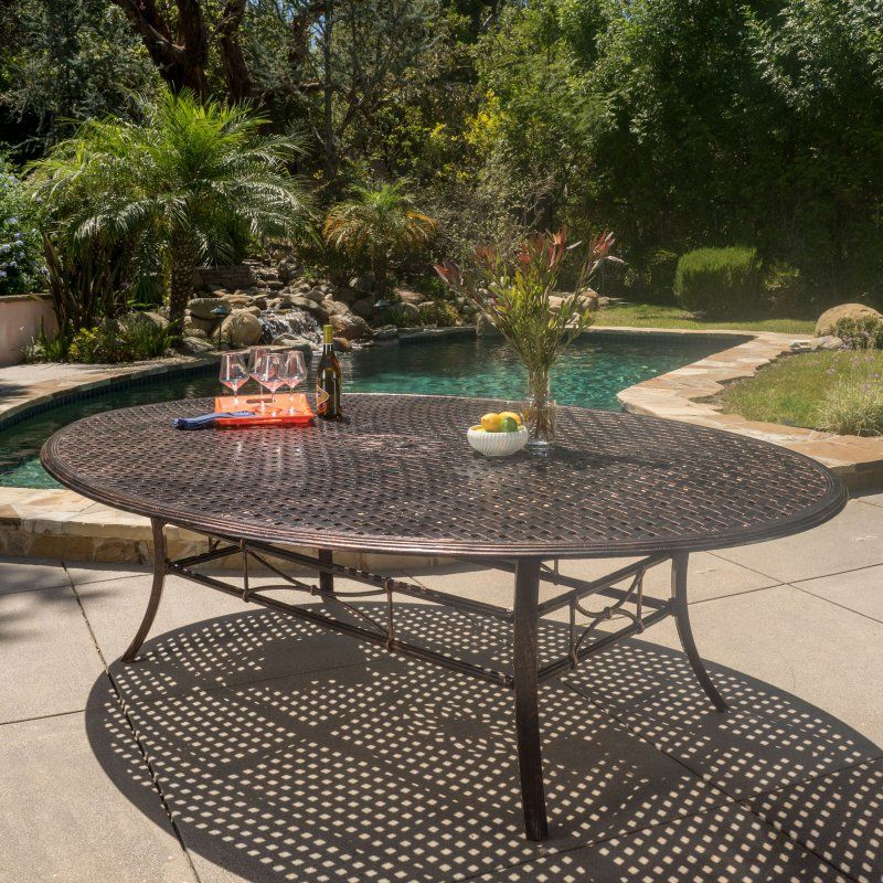 best selling home sunset shiny copper aluminum oval patio dining