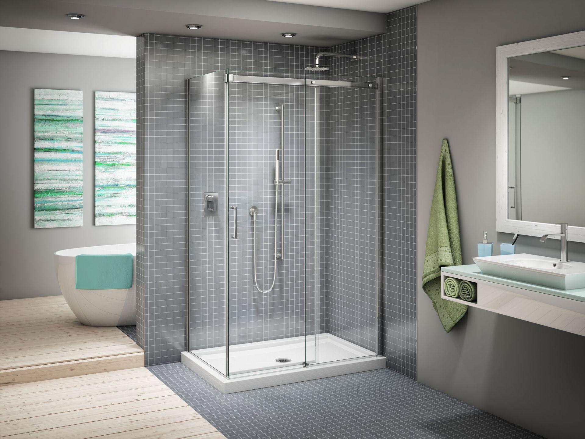 Fleurco Appolo Kit base et porte de douche coulissante en coin