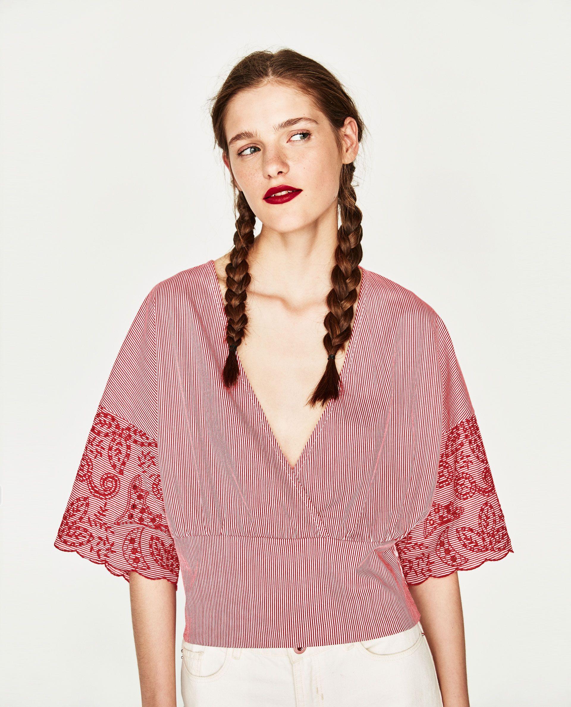 ed45fb9283e ZARA RED EMBROIDERED STRIPED TOP   Zara   Zara embroidered top, Tops