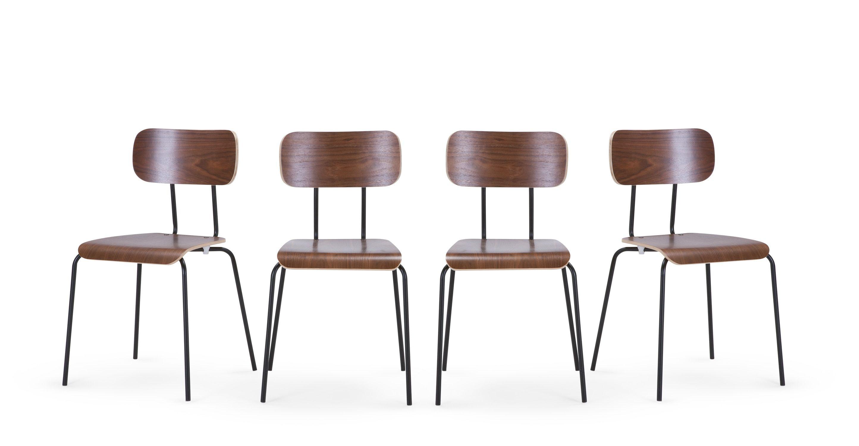 4 x Haywood Esszimmerstühle Walnuss und Schwarz ■Neues Design für dein Zuhause Entdecke jetzt Stühle in vielen Styles bei MADE mit Lieferung direkt