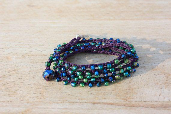Beachy Crochet Necklace/5 Wrap Bracelet Jewel  by monroejewelry