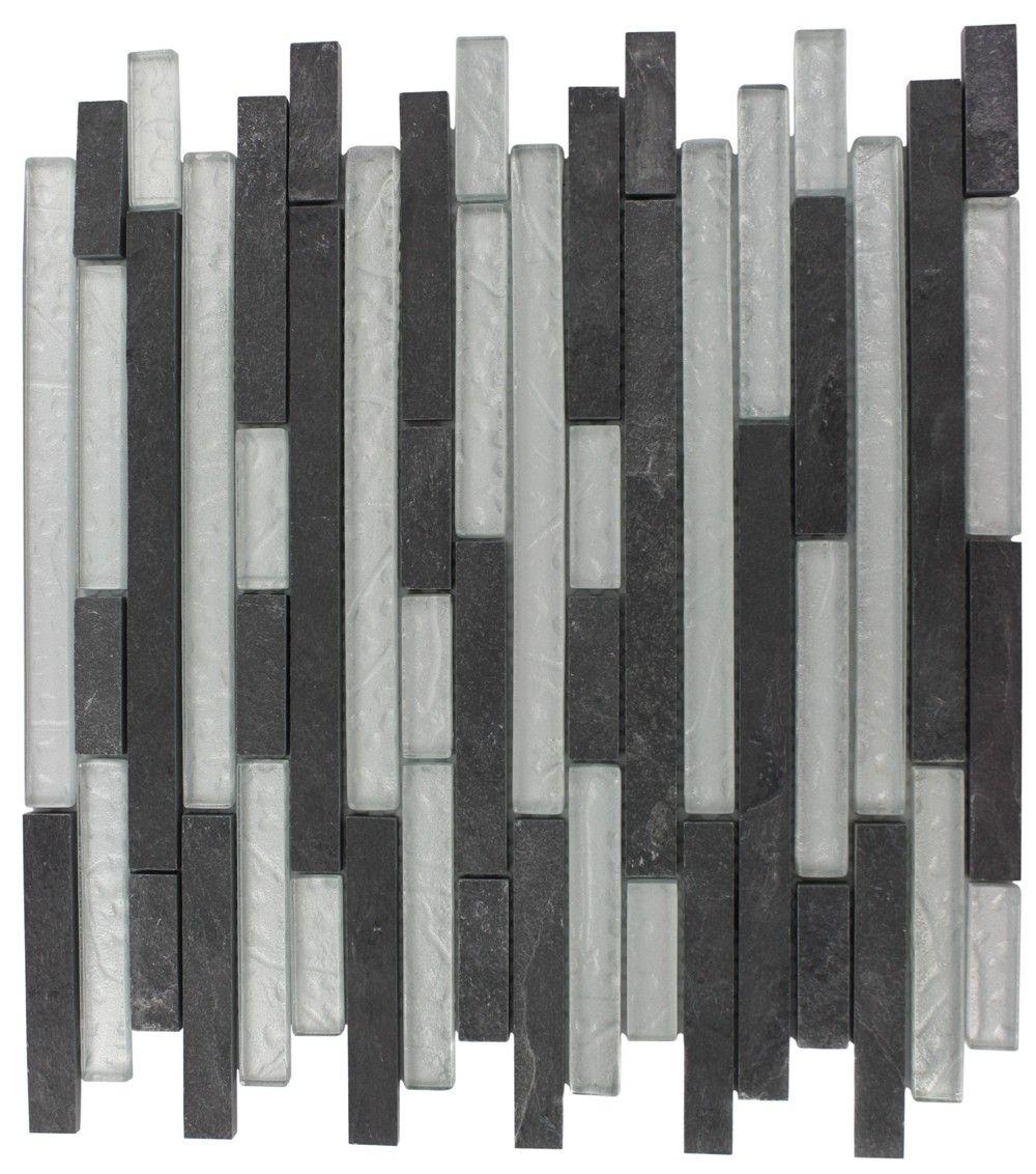 Splashback Tile Tectonic Harmony Green Quartz Slate And: GEOLOGICAL TAO BLACK SLATE & SILVER GLASS TILES 1/2XRANDOM
