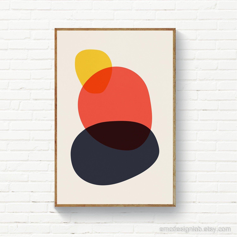Abstract Circles Organic Shapes Colorful Stones Print Original Printable Art Mid Century P Modern Art Prints Original Wall Art Mid Century Modern Art Print
