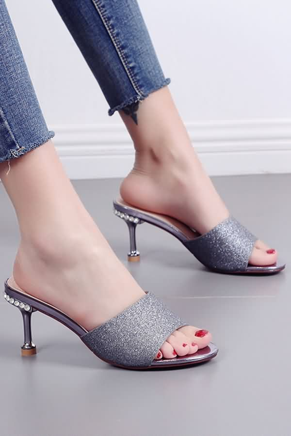 Gray Glitter Open Toe Kitten Mules Kitten Heels Outfit Kitten