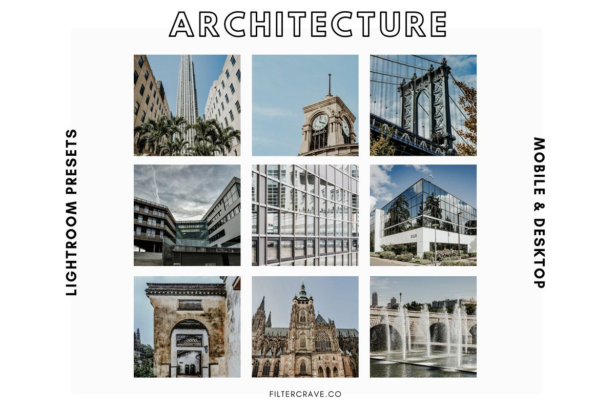 Ad: Architecture Lightroom Presets I by Filtercrave on Creative Market. The Arch...