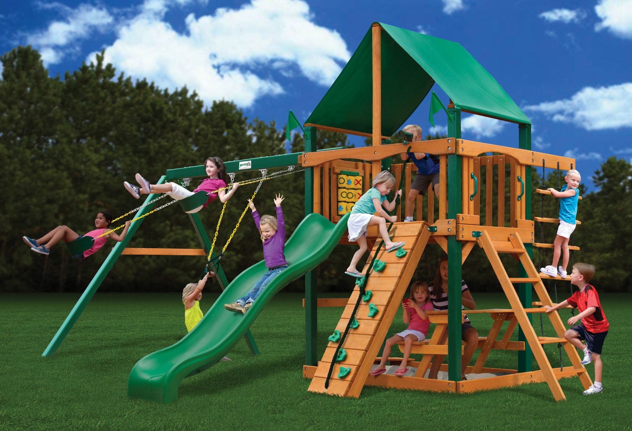 Gorilla Playsets Chateau Deluxe Wooden Swing Set