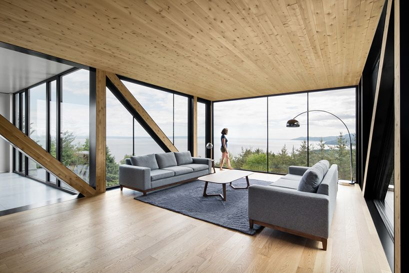 ACDF's blanche chalet includes a cantilevered living room