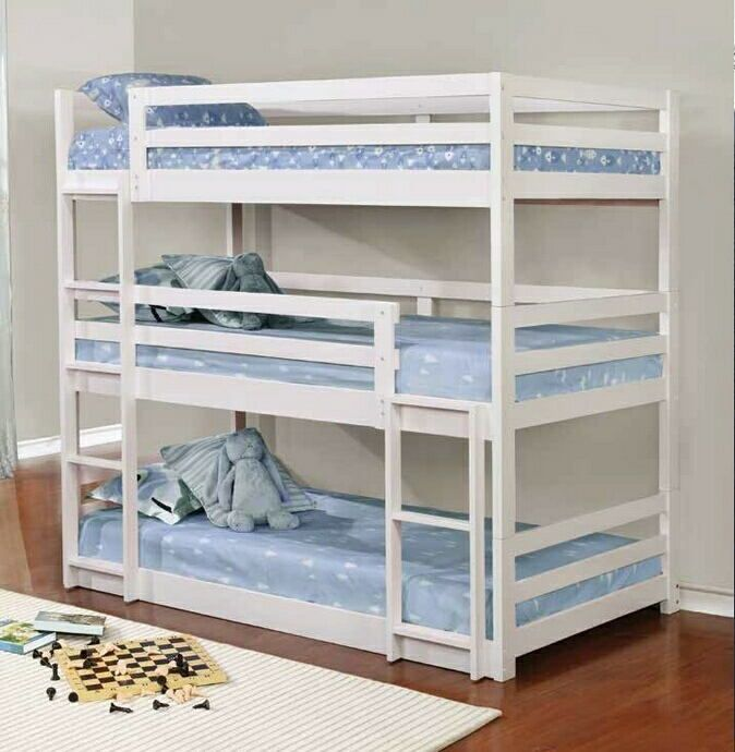401302 Triple Twin Collection White Finish Wood Triple Twin Over
