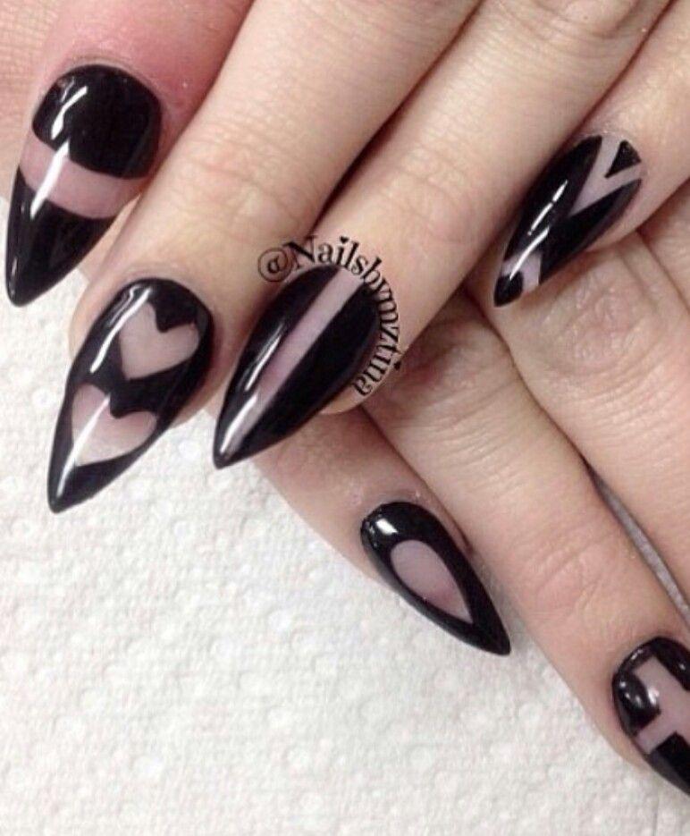 Black Cutout Transparent Nail Design Lace Nails Stiletto Nails Designs Trendy Nail Art Designs