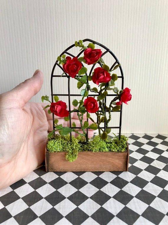 Miniature Rose Trellis 1 12 Scale Dollhouse Trellis Etsy 400 x 300