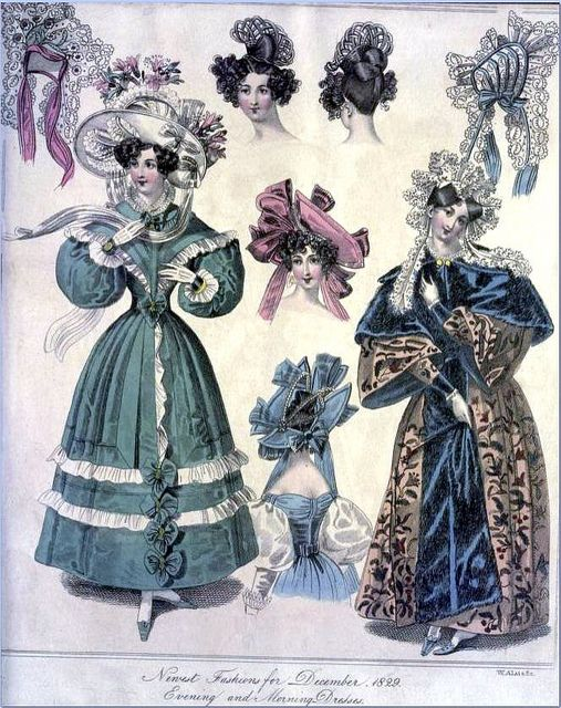 The World of Fashion and Continental Feuilletons 1829 - Plate 48: Evening & Morning Dresses