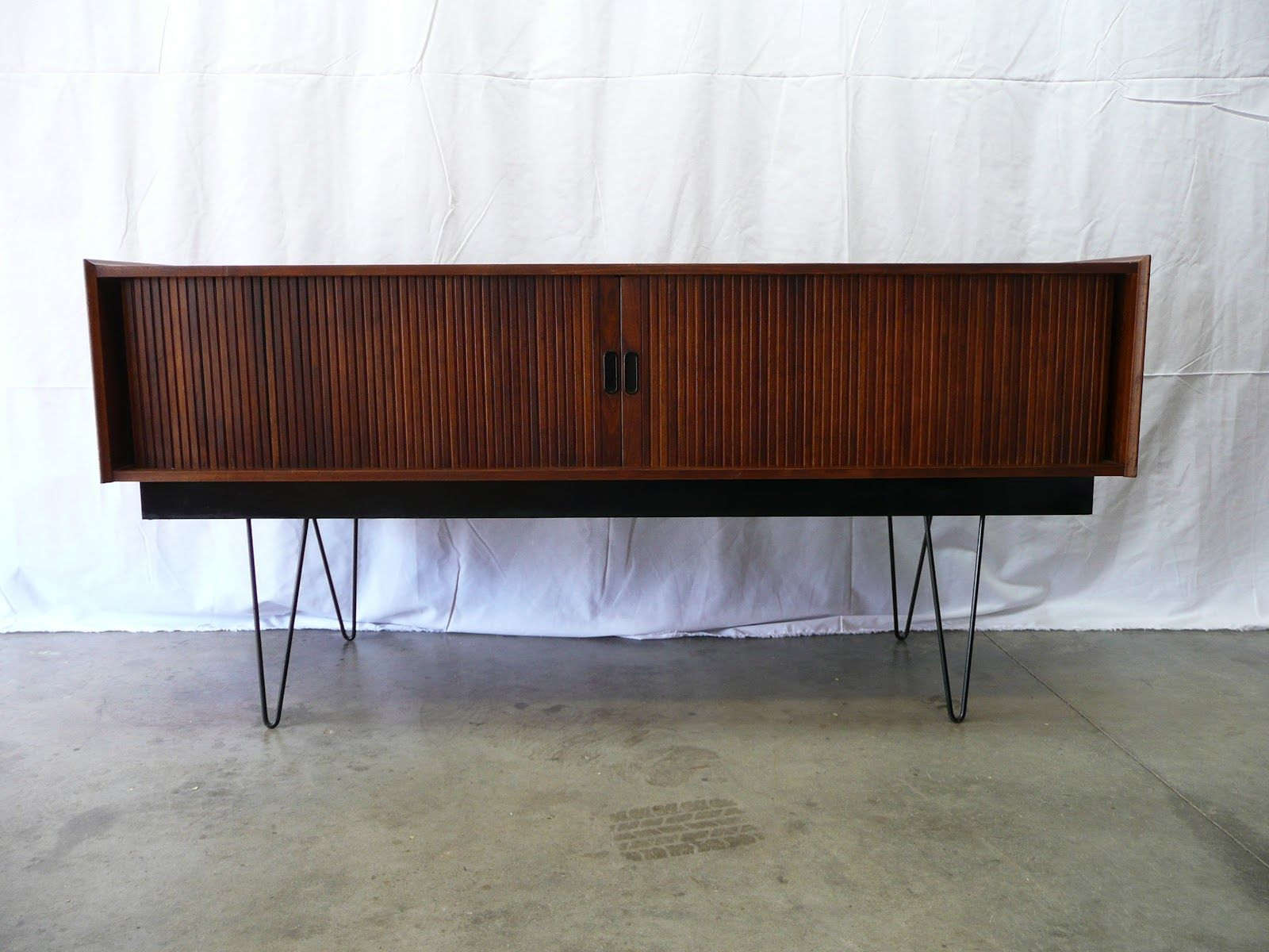 Danish Style Sideboard with Tambour doors Unique Hairpin Legs