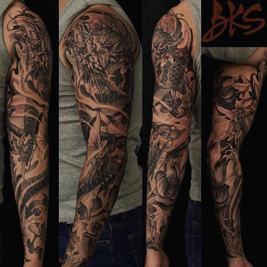 Dragon And Koi Fish Full Sleeve By Bks Artofsteve Done At Chronic Ink Tattoo Toronto Canada Chinese Sleeve Tattoos Koi Fish Tattoo Sleeve Tattoos