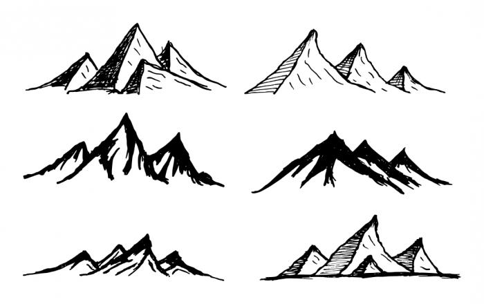 Line Art Vector Mountain Drawing Line Art