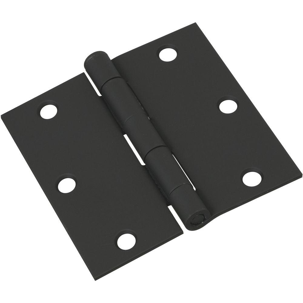 National Hardware 3 1 2 In Door Hinge In Black N241 190 The Home Depot In 2020 Black Door Hinges Door Hinges Black Door Handles