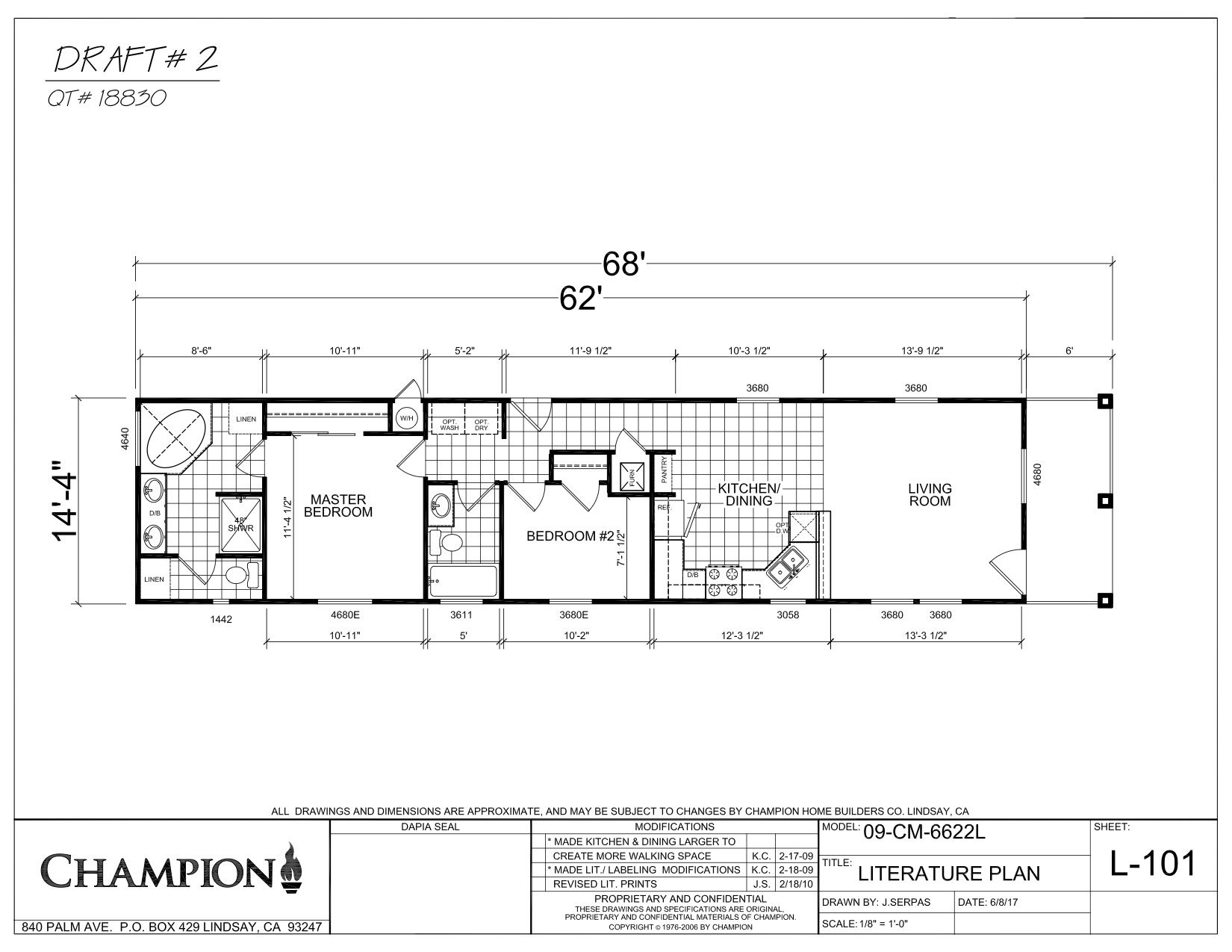 Cm6622l in 2020   Mobile home floor plans, Single wide ...