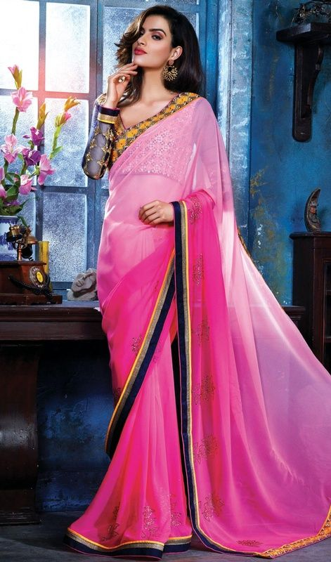 Add richer looks to your persona in this pink color shade georgette ...