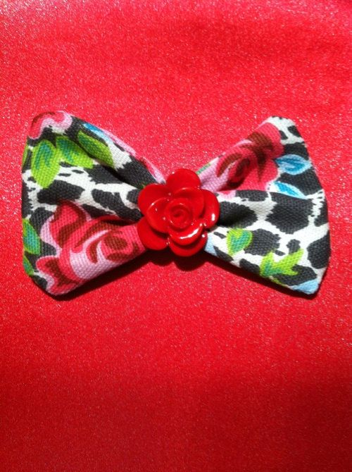 Handmade Bow With Red Rose Center Piece by dropdeaddollface, $4.99