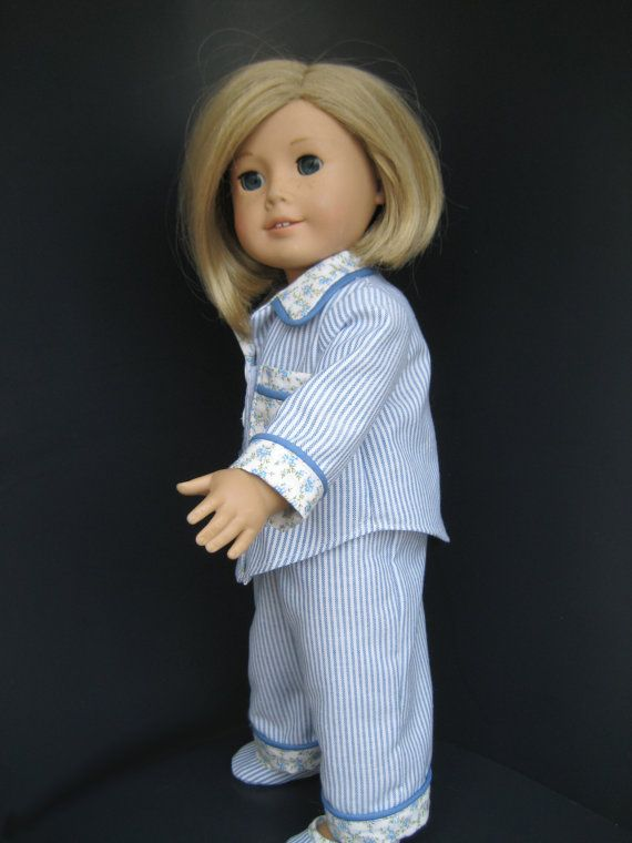 Handmade 18 inch Doll Clothes Fit American Girl - Pajamas and Slippers! I'll take a pair of these too please. :-)