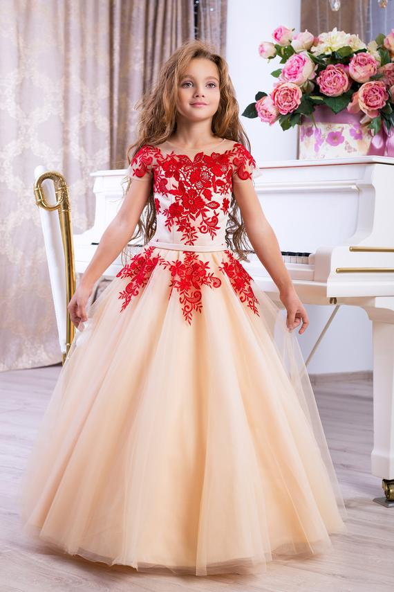 Beige And Red Flower Girl Dress Wedding Party Holiday Birthday