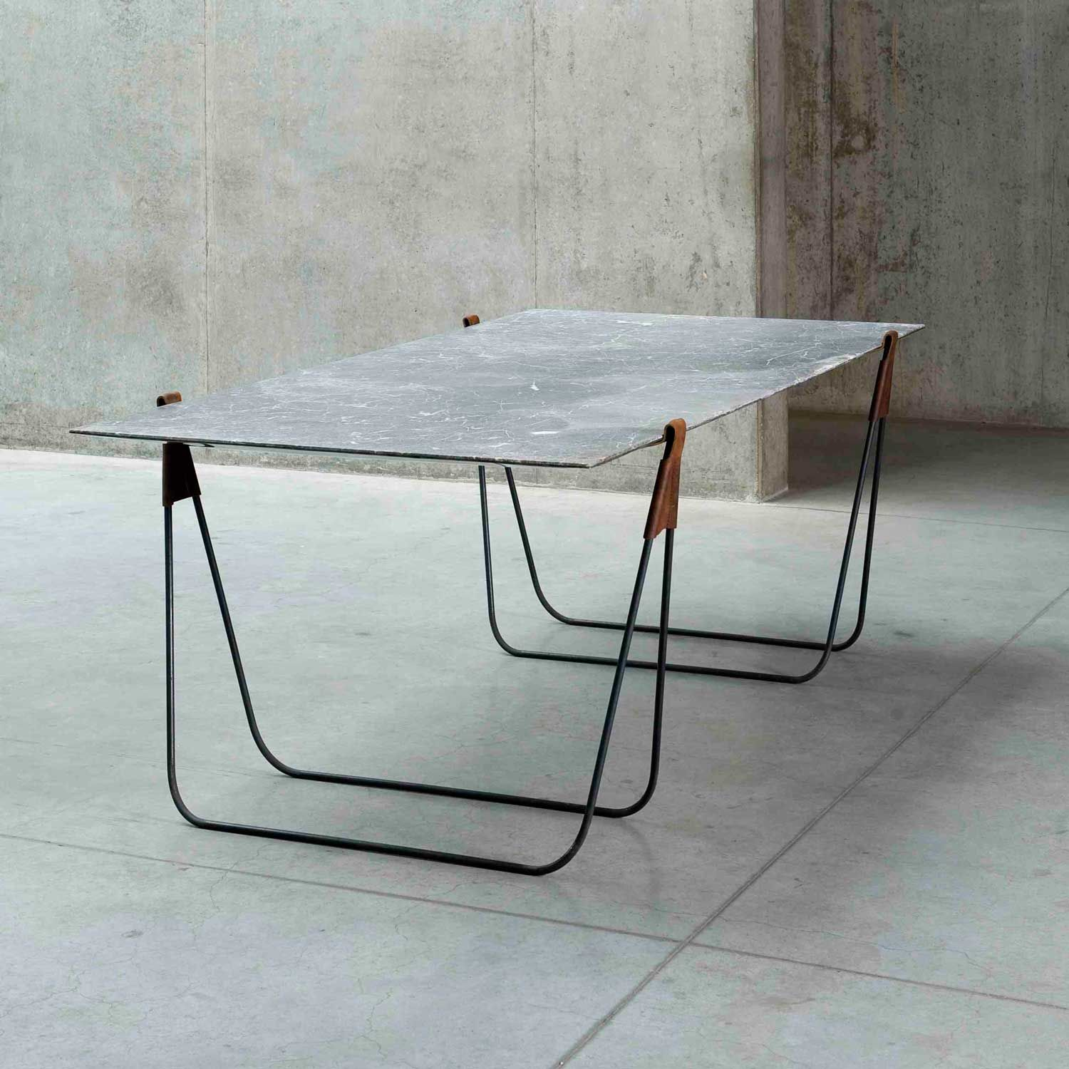 Wonderful In Vein   A Marble Trestle Table That Can Also Be Used As A Mirror When  Leaned Up Against The Wall. Made Of Marble, Leather   By Ben Storms
