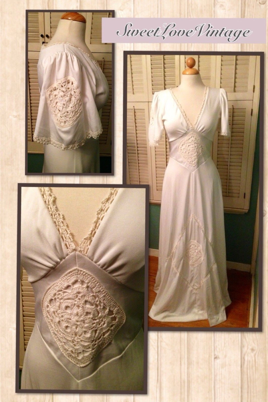 Vintage us us ivory crochet maxi dress festival boho hippie