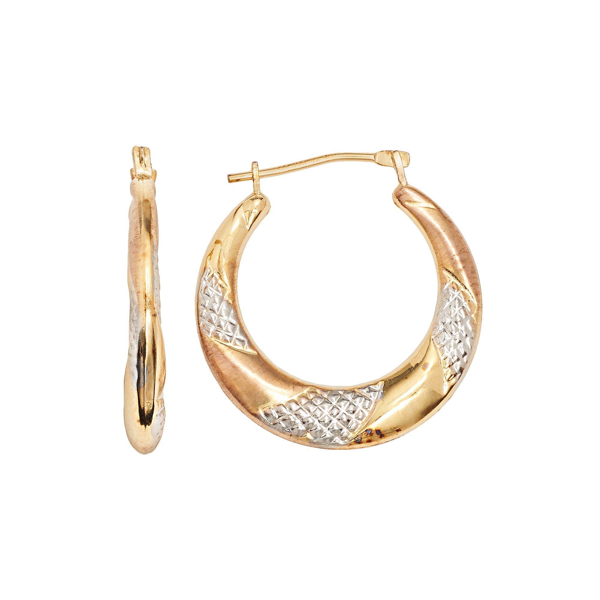 14k Gold Bonded Sterling Silver Tri Tone Twist Hoop Earrings