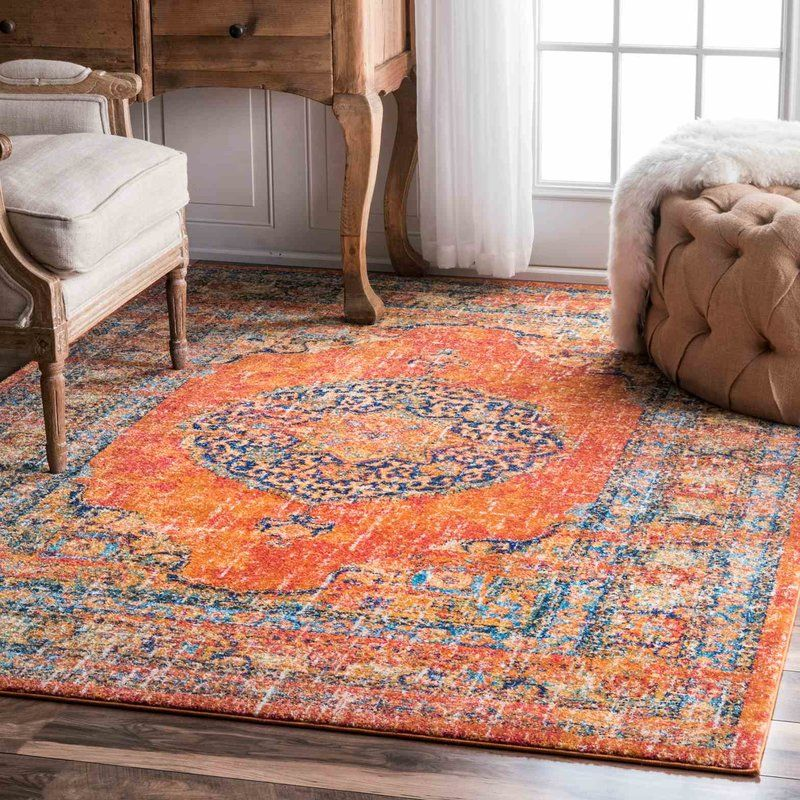 Pamela Orange Yellow Blue White Area Rug Orange Rugs Orange Rug