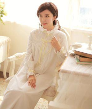 classical white cotton sleepwear dress