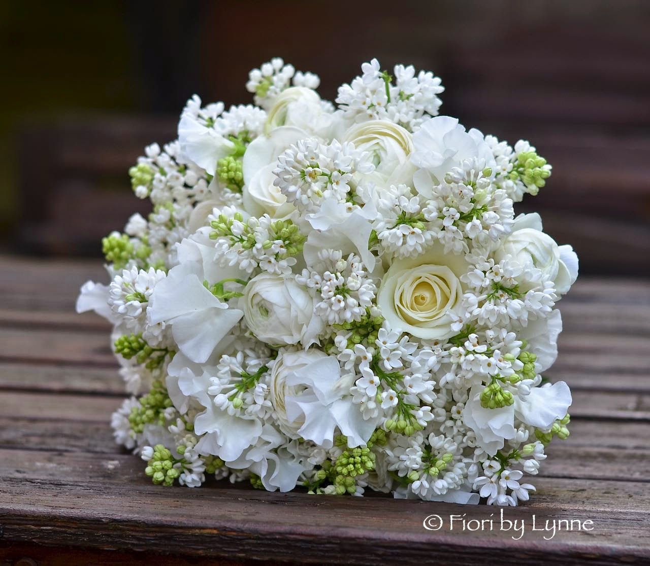 White Lilacs Syringa Ranunculus White Sweet Pea Flowers