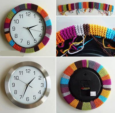 Knit Craft - Yarn Bombing  Clock - could also crochet - great idea!