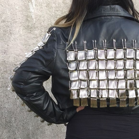 Safety Pin cropped leather motorcycle Jacket Cropped leather