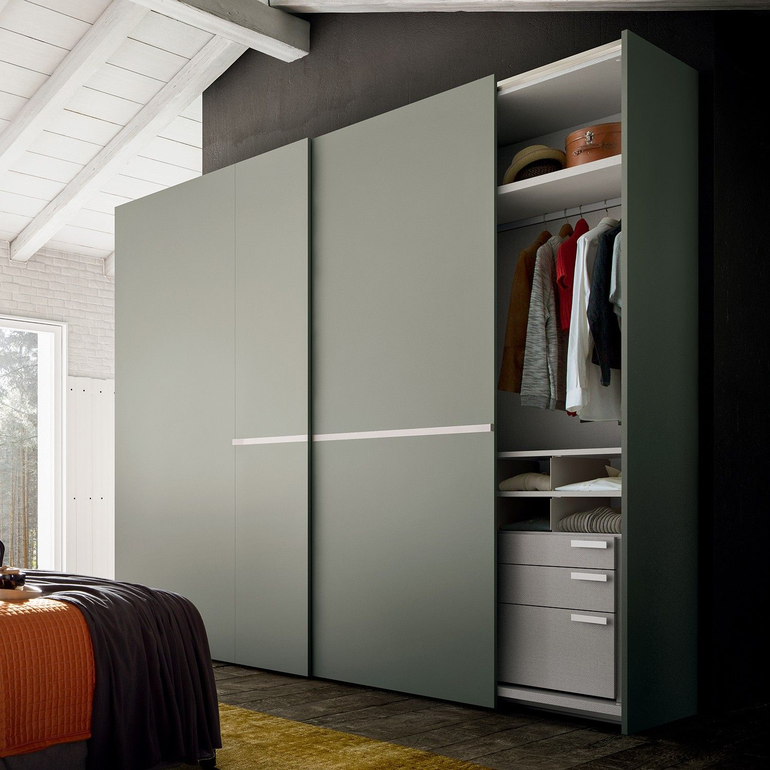 Focus Narrow Depth Sliding Wardrobe Diotti Com Bedroom Closet Design Wardrobe Door Designs Sliding Door Wardrobe Designs