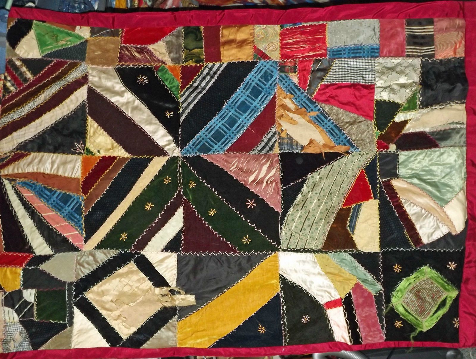 Vintage Antique Crazy Quilt Silk Velvets Satin Embroidery