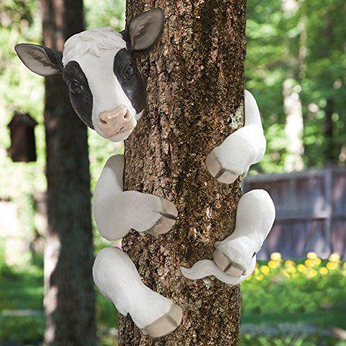Garden Peeker Bessie the Cow Tree Hugger Outdoor Tree Sculpture
