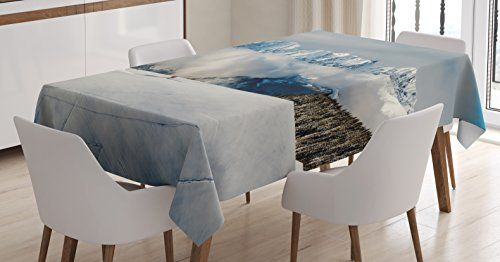 Winter Tablecloth by Ambesonne Panoramic View on Mountains and Two