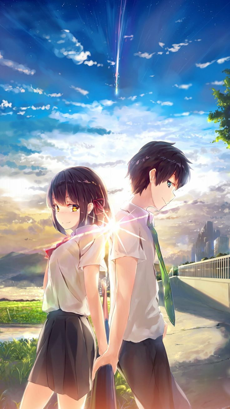 805 anime yourname sky illustration art iphone x(s/max/r) wallpaper